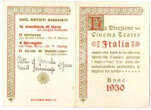 1930 FAENZA Cinema Teatro ITALIA - Biglietto programmazione