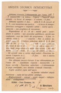 1923 ROMA Rivista Storica Benedettina - Cartolina abate P. LUGANO - AUTOGRAFO