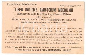1917 MILANO Biblioteca Ambrosiana - Cartolina pubblicitaria