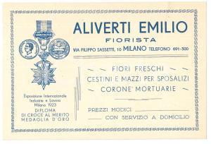 1923 MILANO via Sassetti - Fiorista ALIVERTI Emilio - Biglietto pubblicitario