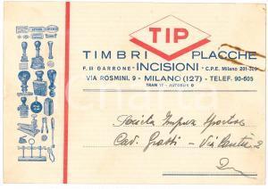 1938 MILANO Via Rosmini - TIP Timbri Placche Incisioni - Biglietto