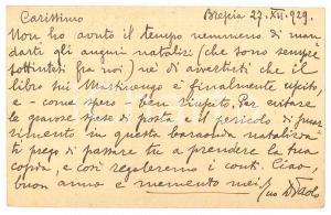 1929 BRESCIA Don Paolo GUERRINI su pubblicazione libro - AUTOGRAFO
