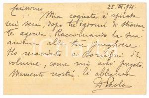 1931 BRESCIA Don Paolo GUERRINI - Fonti di Storia Bresciana - AUTOGRAFO