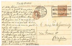 1933 TRENTO Lamberto CESARINI SFORZA su libri toponomastica *Cartolina AUTOGRAFO