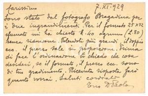 1929 BRESCIA Don Paolo GUERRINI su ingrandimenti fotografie - AUTOGRAFO