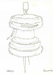1960 ca BRUNETTA (Bruna MATELDI MORETTI) Cappotto BALENCIAGA - Disegno AUTOGRAFO