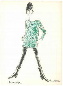 1966 BRUNETTA (Bruna MATELDI MORETTI) Abito corto BALENCIAGA - Disegno AUTOGRAFO