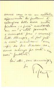 1925 ca UDINE On. Piero PISENTI appassionato della causa friulana - Autografo