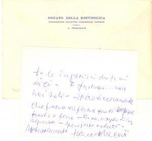 1983 ROMA Biglietto senatore Francesco REBECCHINI per ringraziamento - AUTOGRAFO