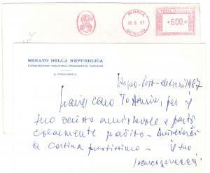 1987 ROMA Biglietto senatore Francesco REBECCHINI per ringraziamento - AUTOGRAFO