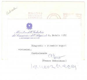 1982 ROMA Biglietto Francesco REBECCHINI per auguri Natale - AUTOGRAFO