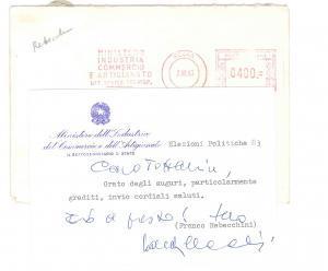 1983 ROMA Biglietto Francesco REBECCHINI per auguri - AUTOGRAFO