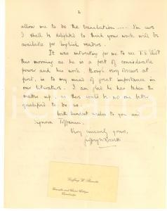 1929 LONDON Geoffrey W. ROSSETTI about a translation with T. S. Eliot *AUTOGRAPH