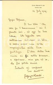 1929 ROMA Geoffrey W. ROSSETTI ringrazia per libro ricevuto - AUTOGRAFO