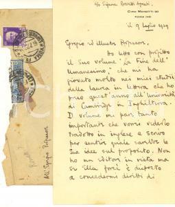 1929 ROMA Geoffrey W. ROSSETTI ringrazia per volume ricevuto - AUTOGRAFO