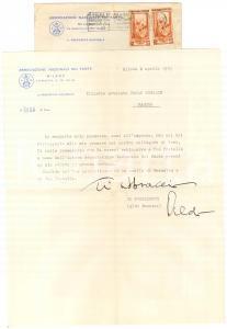 1953 MILANO Lettera Aldo ROSSINI - Associazione Nazionale del Fante - AUTOGRAFO