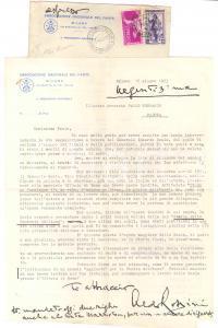 1953 MILANO Lettera Aldo ROSSINI - Associazione Nazionale del Fante *AUTOGRAFO