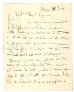 1947 ROMA Ruggero Maria RUGGERI - Cartolina per articolo su Tasso - AUTOGRAFO