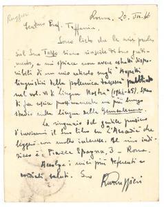 1966 ROMA Ruggero Maria RUGGERI - Cartolina per ringraziamento - AUTOGRAFO