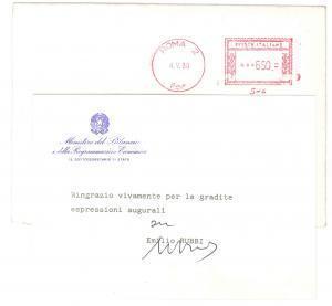 1988 ROMA Biglietto Emilio RUBBI - Sottosegretario Bilancio - AUTOGRAFO