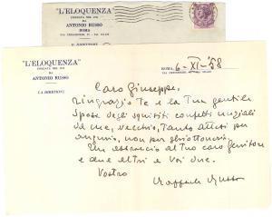 1958 ROMA Lettera Raffaele RUSSO per ringraziamento -