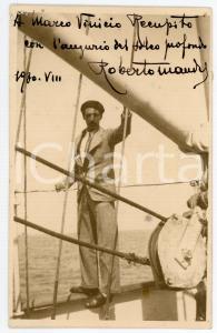 1930 Scrittore Roberto MANDEL - Ritratto su una nave - Foto con AUTOGRAFO 9x14