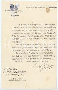1930 NAPOLI Lettera Francesco CILEA - Direttore Conservatorio - AUTOGRAFO