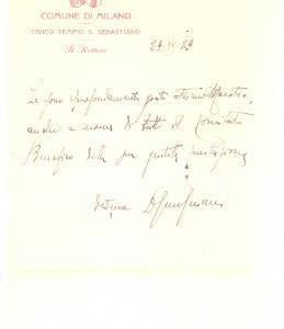 1929 MILANO Civico Tempio S. Sebastiano - Lettera del Rettore per ringraziamento