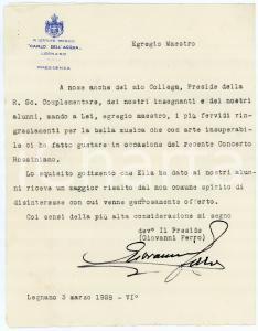 1928 LEGNANO Istituto Tecnico DELL'ACQUA - Giovanni FERRO preside  - AUTOGRAFO