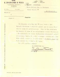 1929 PARMA Lettera Luigi FERRARI TRECATE direttore Conservatorio - AUTOGRAFO