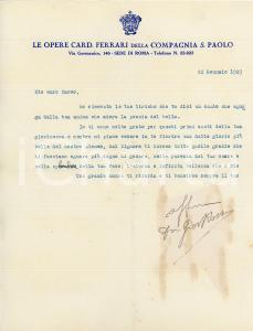 1929 ROMA Lettera don Giovanni ROSSI - COMPAGNIA S. PAOLO - AUTOGRAFO