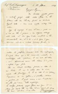 1929 MILANO Carlo LAGOMAGGIORE ringrazia per libro ricevuto - AUTOGRAFO