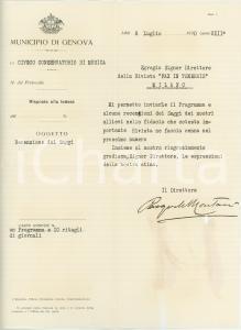 1930 GENOVA Lettera Pasquale MONTANI direttore Conservatorio - AUTOGRAFO