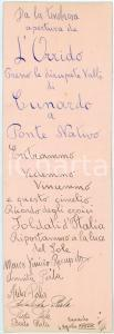 1929 ORRIDO DI CUNARDO Biglietto ricordo di visitatori - CURIOSO