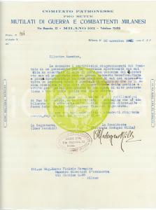 1931 MILANO Lettera Vittoria MEDUGNO MILLA - Combattenti milanesi - AUTOGRAFO