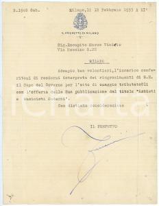 1933 MILANO Lettera prefetto Bruno FORNACIARI per ringraziamento - AUTOGRAFO