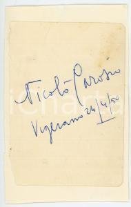 1950 VIGEVANO Nicolò CAROSIO giornalista - Bustina con AUTOGRAFO