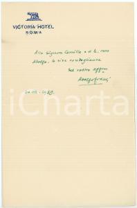 1939 ROMA Adolfo FRANCI sceneggiatore - Messaggio AUTOGRAFO