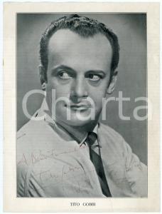 1950 LONDON Baritono Tito GOBBI - Ritratto - Foto seriale con AUTOGRAFO