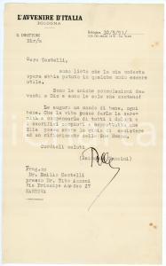 1951 BOLOGNA Lettera Raimondo MANZINI Direttore