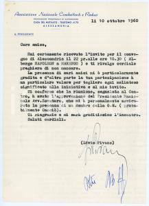1960 ANCR ALESSANDRIA Lettera Livio PIVANO presidente - AUTOGRAFO