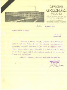 1913 MILANO Officine G. Ricordi - Lettera Tito II RICORDI direttore - AUTOGRAFO