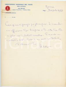 1973 NOVARA Lettera Aldo ROSSINI - Associazione Nazionale del Fante - AUTOGRAFO