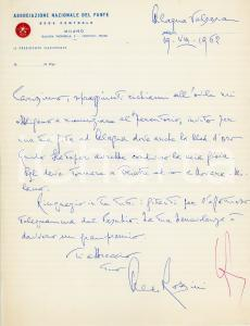 1962 ALAGNA VALSESIA Aldo ROSSINI - Associazione Nazionale del Fante - AUTOGRAFO