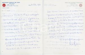 1968 MILANO Lettera Aldo ROSSINI - Associazione Nazionale del Fante - AUTOGRAFO