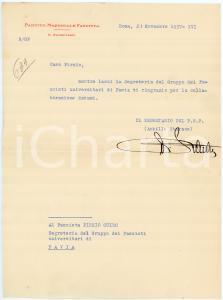 1937 ROMA Lettera Achille STARACE - Segretario PNF - AUTOGRAFO