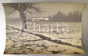 1915 ca VALLOMBROSA Paesaggio innevato con cascina - Foto ARTISTICA 36x27 cm