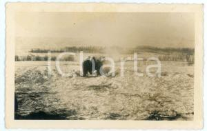 1943 WW2 ARMIR Campagna di RUSSIA - Soldati accendono il fuoco *Foto 14x9 cm