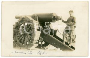 1915 ca WW1 - ALTOPIANO DI ASIAGO Soldato con Cannone da 149/23 - Foto 13x8 cm