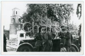 1941 WW2 - AGIA - TESSAGLIA (GRECIA) Ufficiali davanti alla mensa (1) Foto 13x8